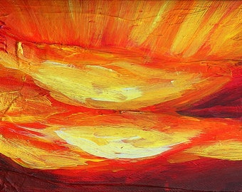 Rays of Sunlight Red Sky III, original acrylic painting on canvas, 7 x 5