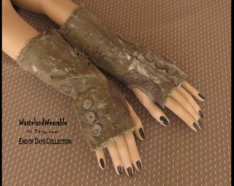 APOCALYPTIC Fingerless Gloves Army Drab Green Brown Leather Fallout Gloves