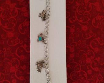 BR111 Vintage Sterling Silver Native American Animal Bracelet