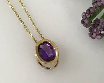"Amethyst Pendant in 14K Yellow Gold  Bezel Set with 18"" 14k Yellow Gold Diamond Cut  Cable Chain  #5103"