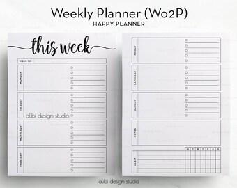Week on Two Pages, Happy Planner, Weekly Planner, Undated Planner, Habit Tracker, Printable Planner, Daily Planner, MAMBI, MAMBI Planner
