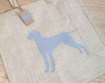 Luxury jute shopping bag featuring a Weimaraner dog design, the perfect gift for Weimaraner owners and dog lovers alike