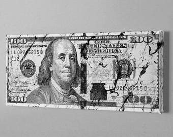 Money Art - 100 dollar bill marble  canvas  (100 Dollar marble texture, Marble 100 dollar bill, marble 100 dollar, wolf of wall street)