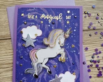 Purple and blue Unicorn Greeting card. Birthday greeting card.