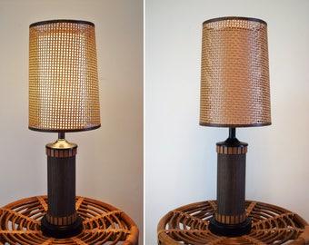 Vintage Mid Century Table Lamp, Wood Lamp, Wood Table Lamp,  Danish Modern Lamp with Wicker Woven Double Lamp Shade