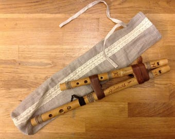 Double bamboo flute, 6 holes, two pipes in D and A
