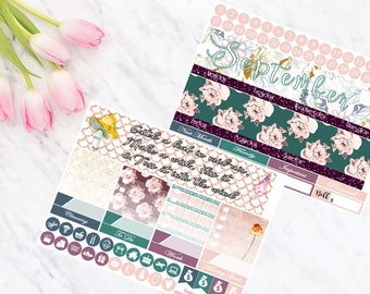 September Vertical and Horizontal Monthly Calendar View Planner Stickers for Erin Condren LifePlanner