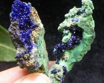 2pcs Extreme Sparkling Blue Azurite & Green Malachite B4092  Liufengshan Anhui China