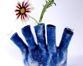 Denim Blue Wool Felt Vase, Felt Vase, Eco Friendly Felt, home interior