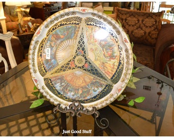 Round, Beautiful Vintage Tin Tray with a Victorian Theme