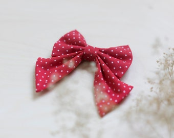 Girl Dog Collar, Red Dots Dog Collar, Red Cat Collar, Flower Floral Dog Collar, Rose Gold Hardware, Cat Bow Tie Collar, Wedding Dog Collar