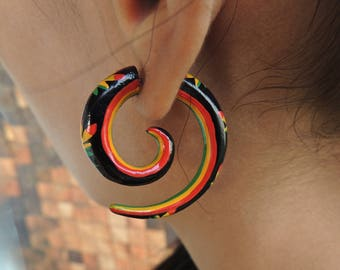 Orange & Black Painted Rasta Curls Fake Gauges Earrings - Free Shipping
