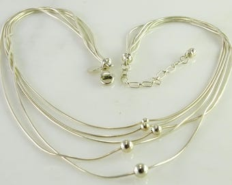 """5 Strand Floating Bead Necklace 17"""" Approx. 925"""
