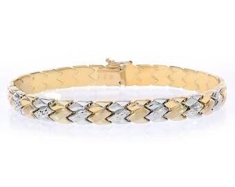 7.6mm 14K Two Tone Gold Fancy Link Diamond Cut Bracelet