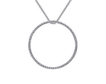 "1.00 Carat Round Diamond Circle of Love Pendant in 16"" Chain 14K White Gold"