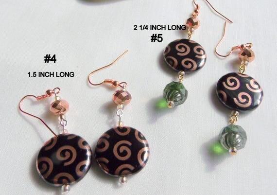Round black copper helix disk earrings  - metallic swirl  - abstract design -  short - long dangle earring - glass coin bead - Lizporiginals