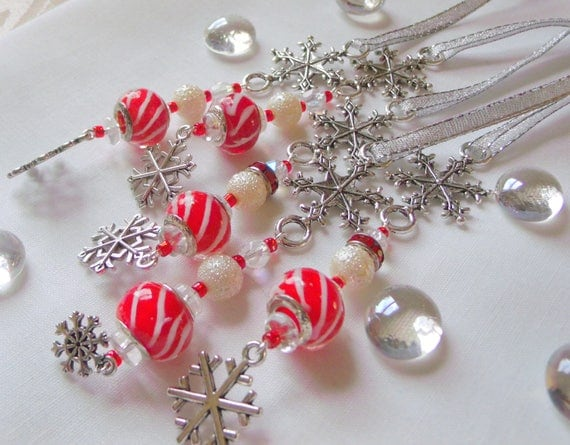 Snowflake ornament - Holiday - Christmas tree decoration - red white candy cane beads - stocking stuffer - gift bag decor Lizporiginals