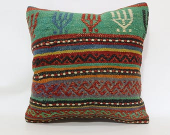 20x20 Turkish Kilim Pillow Boho Pillow Handwoven Kilim Pillow 20x20 Turkish Kilim Pillow Boho Pillow Ethnic Pillow Cushion Cover SP5050-1888