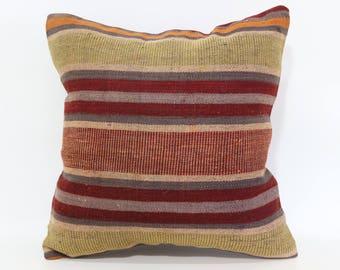 16x16 Striped Kilim Pillow Sofa Pillow Boho Pillow Ethnic Pillow 16x16 Decorative Kilim Pillow Ethnic Pillow Cushion Cover  SP4040-3248