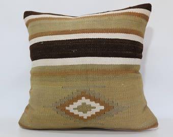 Turkish Kilim Pillow Sofa Pillow Throw Pillow 24x24 Bohemian Kilim Pillow Handwoven Kilim Pillow Floor Pillow Cushion Cover SP6060-1325
