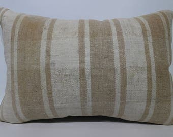 Turkish Kilim Pillow Home Decor Lumbar Kilim Pillow 16x24 Striped White Kilim Pillow Lumbar Kilim Pillow Cushion Cover SP4060-1049