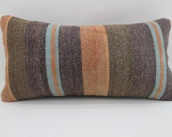 10x20 brown striped kilim pillow striped kilim pillow anatolian kilim pillow lumbar pillow sofa pillow home decor ethnic pillow SP2550-1532