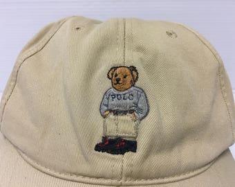 Vintage POLO RALPH LAUREN Teddy Bear Ball Cap Baseball Hat