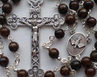Catholic Rosary. Bronzite Rosary Beads. Rosary beads for men.