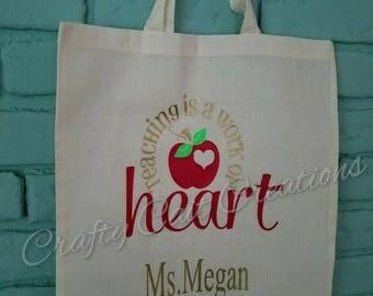 Teaching is a work of heart bag