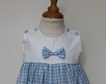 Romper T 3 months baby blue gingham