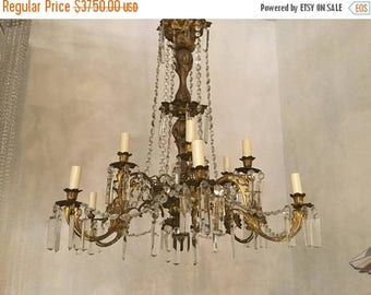 Sale Chandelier, Crystal Chandelier, Antique Rare Crystal Chandelier, Vintage, Wiring Compatible USA, Free Shipping