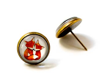 Cuddle fox earrings, Fox Earrings, Fox Stud Earrings, Fox Jewelry, Orange Fox Earrings, Glass Stud Earrings, Fox Earring Studs
