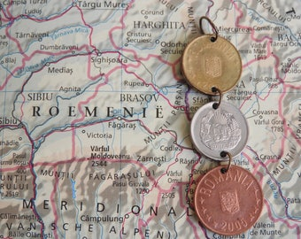 Romanian coin necklace - 3 different designs - made of an original coin from Romania - wanderlust - traveller - fernweh