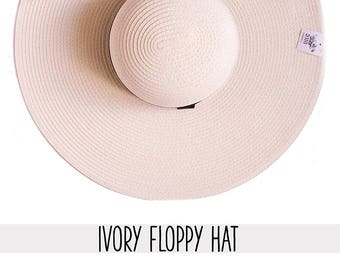 Ivory color hat - Large Size, Medium Size - Brim 7 inches - Custom, Personalized, Summer floppy hat
