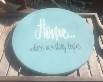 Custom Lazy Susan,Home where our story begins,Decorative round wood,farmhouse decor,Shabby chic turntable,kitchen decor,rustic turntable