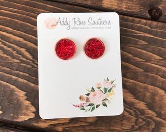 12mm druzy studs, druzy studs, druzy earrings, rose gold druzy