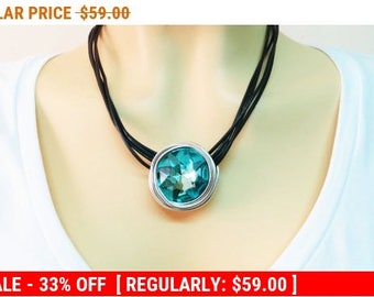 Aqua Jewelry, Aqua  Necklace Pendant, Aqua  Crystal Necklace, Bridesmaid Gift, Wire Jewelry, Wire Pendant, Wrapped Stone Pendant, Silver