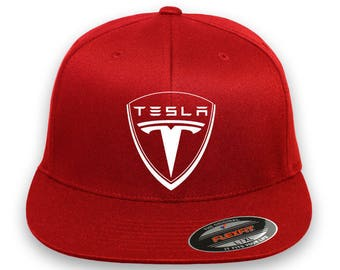 TESLA Motor EMBROIDERY Flex Fit HAT Choose cap size and color