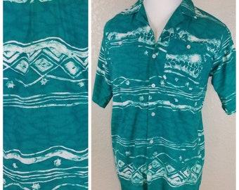Amazing Teal Vintage Tiki Shirt
