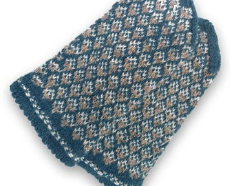 Latvian mittens, wool mittens, double, patterned, hand knit mitts, gray blue mittens, warm wool mittens, women mittens size S