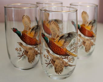 Set of 4 vintage pheasant hi ball glasses