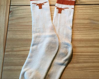 Vintage 1980's Texas Longhorns striped tube socks