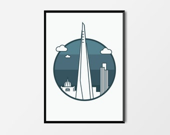 London Print, The Shard | London Artwork | Shard Print | Architecture Print | Skyline Print