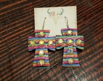 Serape Cross Bling earrings