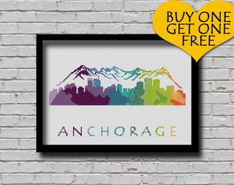 Cross Stitch Pattern Anchorage Alaska Silhouette Watercolor Painting Effect Decor Embroidery Modern Ornament Usa City Skyline Xstitch