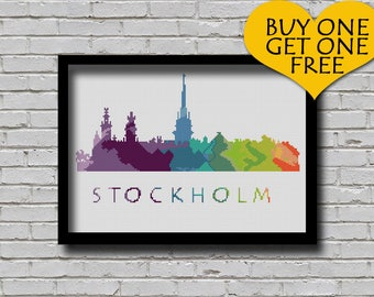 Cross Stitch Pattern Stockholm Sweden Europe City Silhouette Watercolor Effect Painting Decor Embroidery Rainbow Color Skyline xstitch