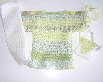 Short dress for doll/doll knitted hand (30-34 cm) mottled green clear/yellow/white