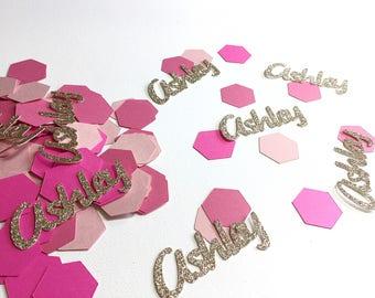 Custom confetti.  Name confetti. Birthday party confetti.  Girl birthday confetti.   Pink and gold party decorations.  Girl pink confetti.