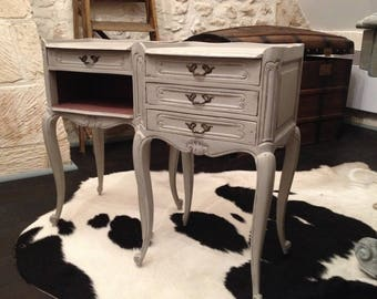 Pair of nightstands Louis XV aged patina