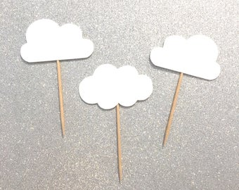 12 pcs white clouds Up Up & Away theme cupcake topper boy girl Birthday Baby Shower Wedding
